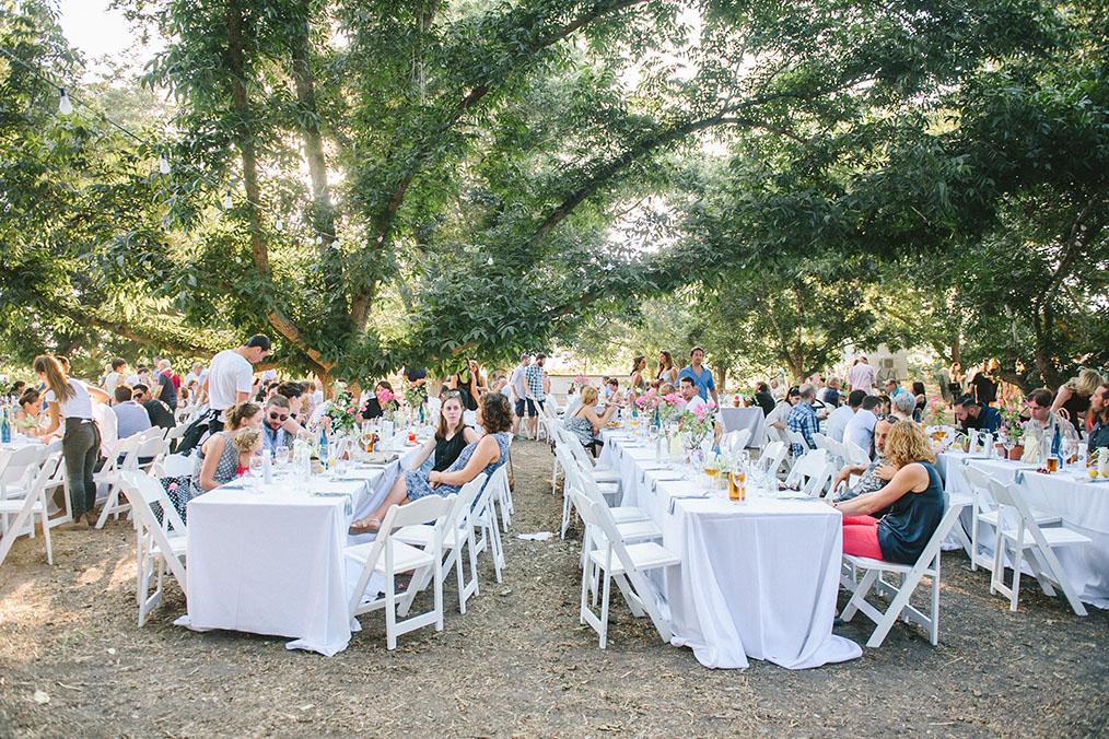 אווירת שישי בצהריים בין עצי הפקאן. מתוך החתונה של דן וערבה. צילום: דניאל ישר